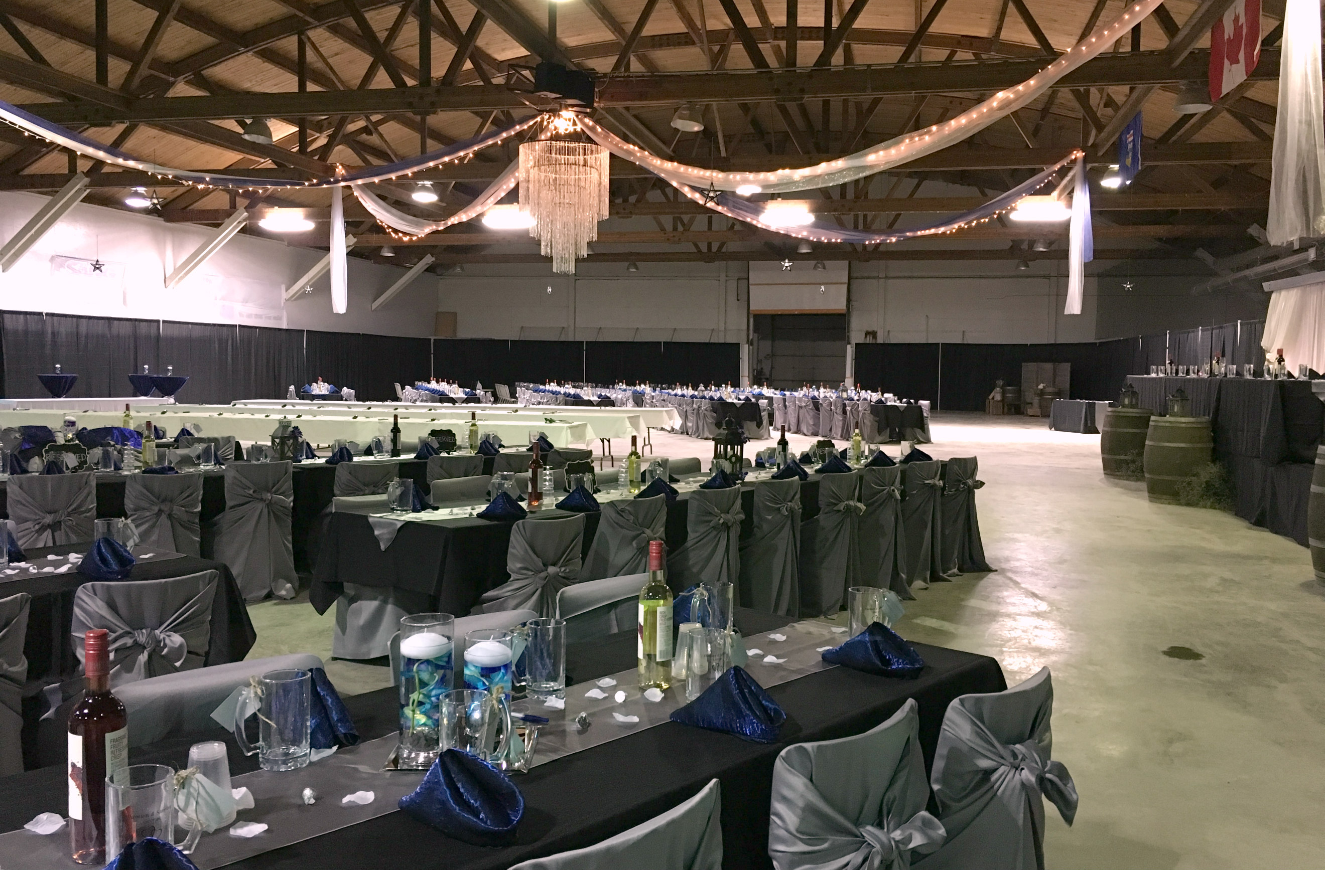 The reception took place at the Rich Valley Agriplex. What a magnificent way to transform a hockey arena!