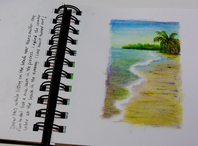 A page out of my book. My first water color pencil landscape done while at the beach.