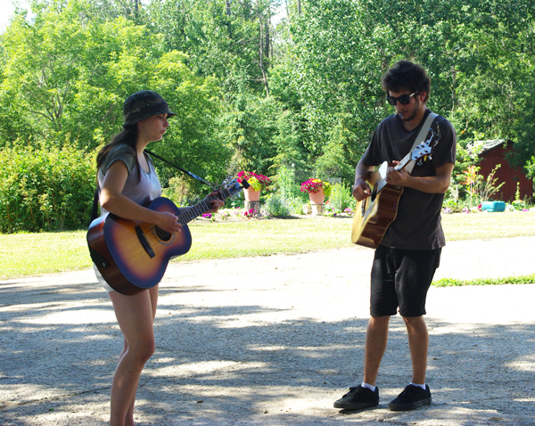 Stephanie and Jack from Innovations Music performing near the studio deck.