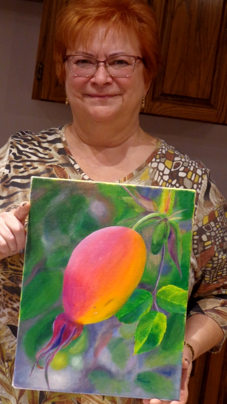 Deborah's completed painting! She is new to acrylic and her rose hip turned out really well!