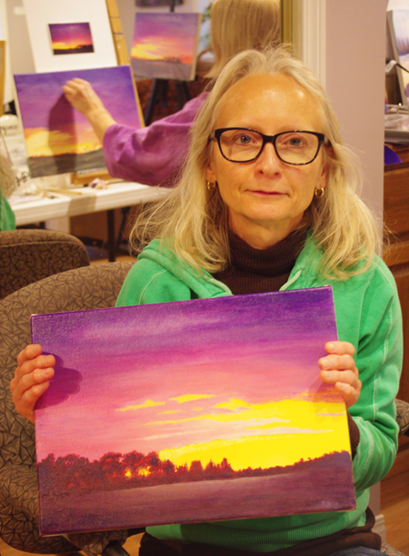 Patricia is also new to acrylic painting and did very well with her sunset! It really did not take her very long to complete.