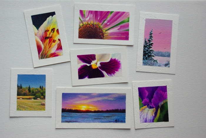 New miniatures on paper as of January 15, 2016. May of these will be attached to blank greeting cards.