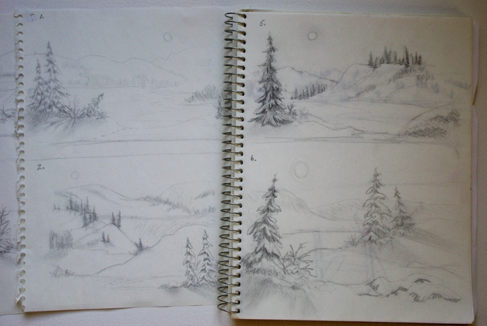 Above are a few of the pencil sketches that were drawn to work out some possible ideas for the painting.