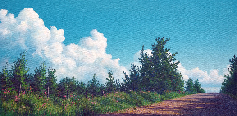 painting of rural gravel road with blue sky, white clouds