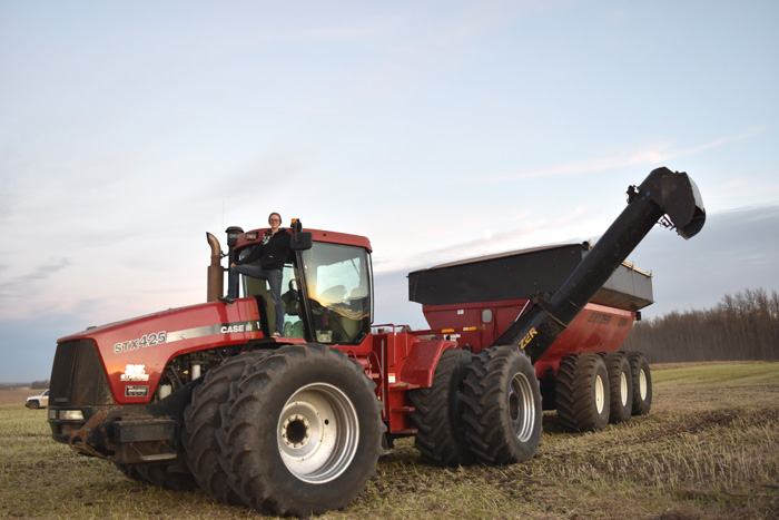 red case tractor and red grain cart