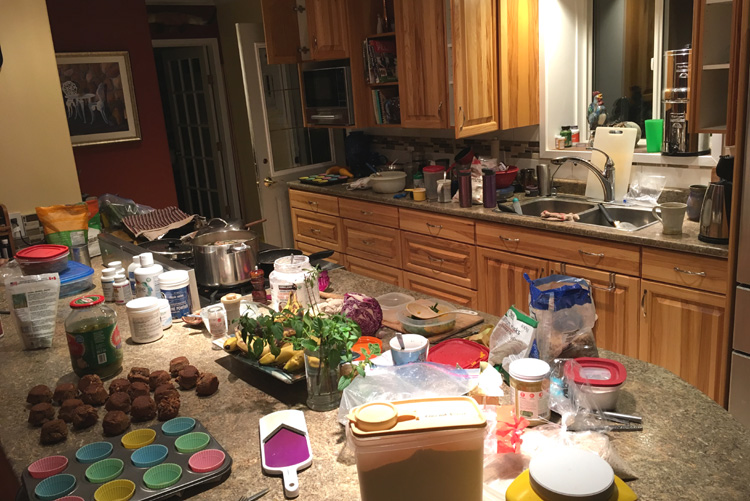country kitchen full of household items