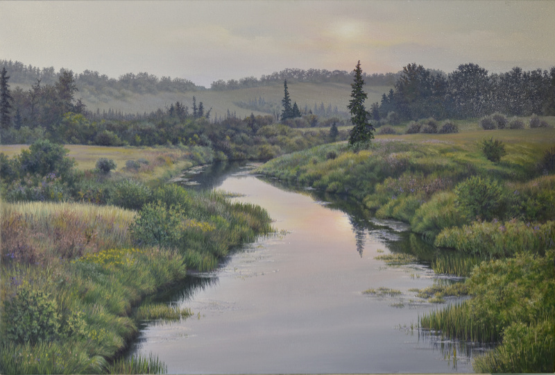summer river landscape painting