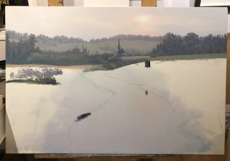 construction of a landscape in acrylics
