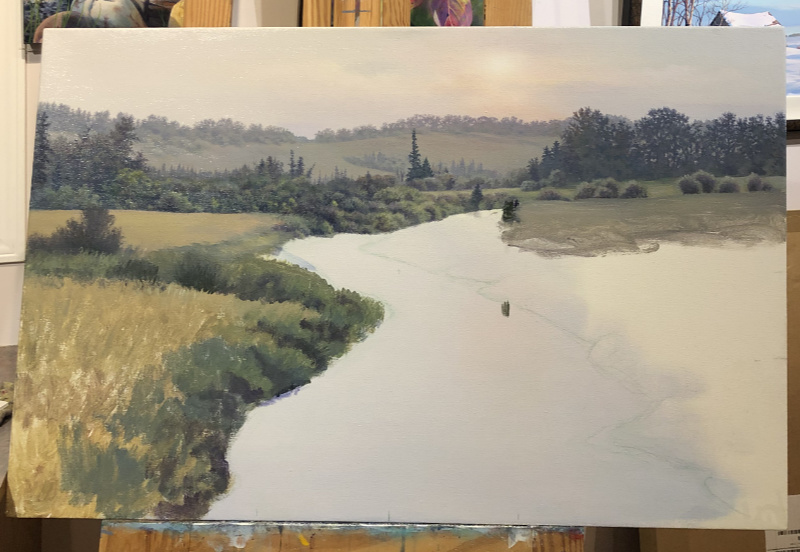 river scene landscape painting in progress