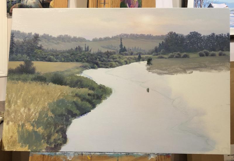 river scene landscape painting in progress