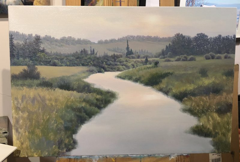 painting a river scene in progress