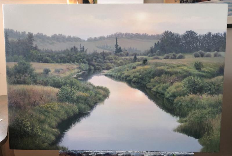 landscape painting in progress