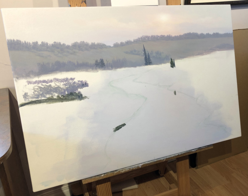 large canvas with tree line painted near the top