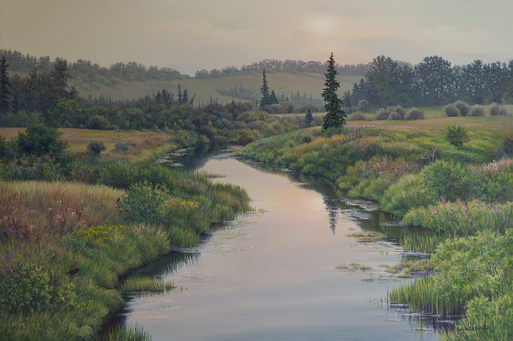 summer river scene painting